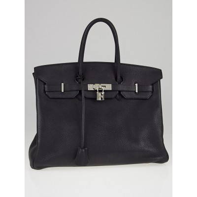 Hermes 35cm Black Togo Leather Palladium Plated Birkin Bag