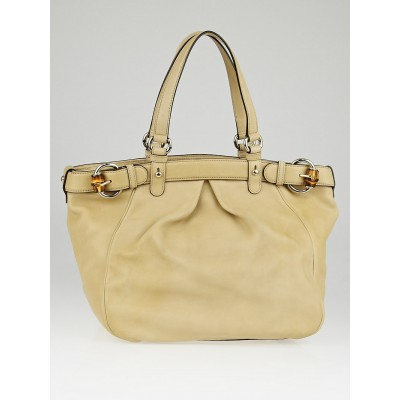 Gucci Beige Leather Bamboo Buckle Tote Bag