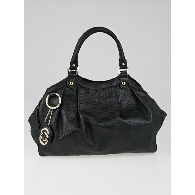 Gucci Black Guccissima Leather Medium Sukey Tote Bag