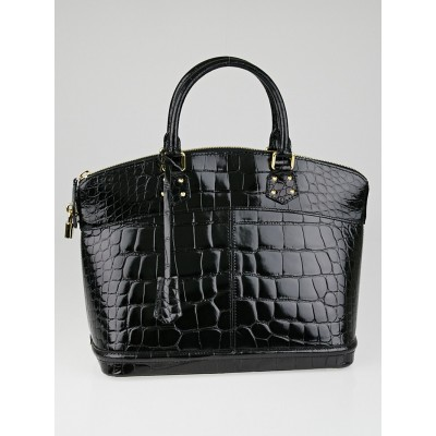 Louis Vuitton Limited Edition Black Alligator Lockit MM Bag