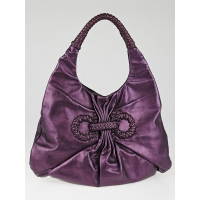 Salvatore Ferragamo Metallic Purple Leather Woven Hobo Bag