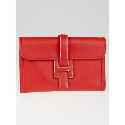 Hermes Vermillion Swift Leather Jige PM Clutch Bag