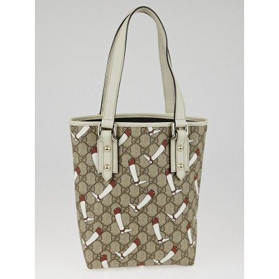 Gucci Beige GG Printed Coated Canvas Small Tote Bag