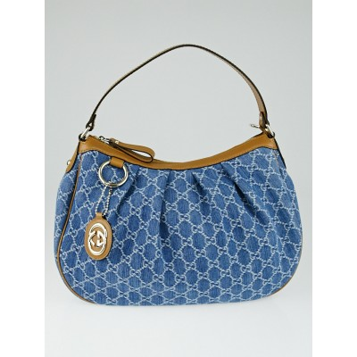 Gucci Blue GG Denim Medium Sukey Shoulder Bag