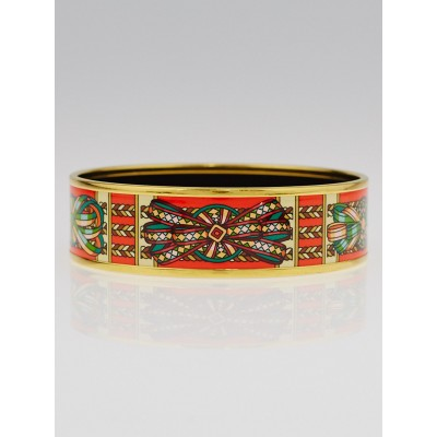 Hermes Coup de Fouet Printed Enamel Gold Plated Wide Bangle Bracelet