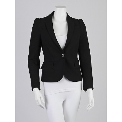 Burberry London Black Polyester Blend Zipper Blazer Jacket Size 2