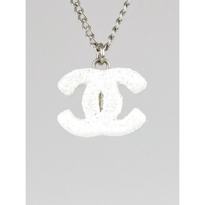 Chanel Silver/White Textured CC Pendant Necklace