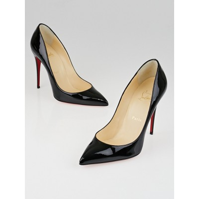 Christian Louboutin Black Patent Leather Pigalle Follies 100 Pumps Size 7.5/38
