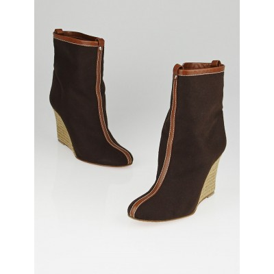 Christian Louboutin Dark Brown Flannel Jessy Booty 85 Espadrille Wedge Ankle Boots Size 7.5/38
