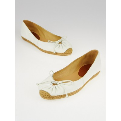 Christian Louboutin White Leather Gala Espadrille Flats Size 4.5/35