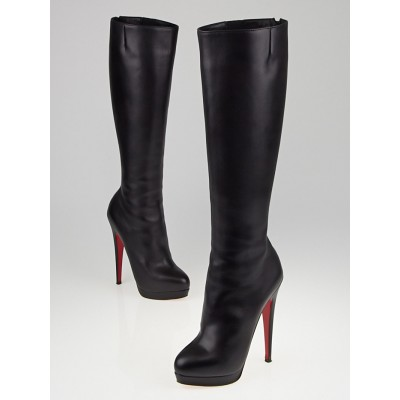 Christian Louboutin Black Leather Alti Botte 160 Rodano Knee High Boots Size 4.5/35