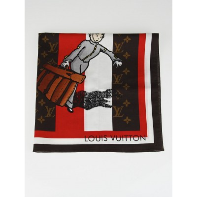 Louis Vuitton Limited Edition Rouge Cotton Groom Square Scarf