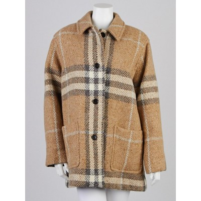 Burberry London Beige/Grey Check Wool Coat Size 10