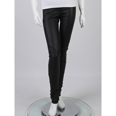 Rick Owens Black Stretch Leather Leggings Size 6/40