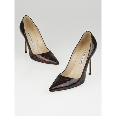Manolo Blahnik Brown Tortoise Shell Patent Leather BB Pumps Size 6/36.5