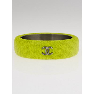 Chanel Fluorescent Yellow Coated Fabric CC Bracelet Size M