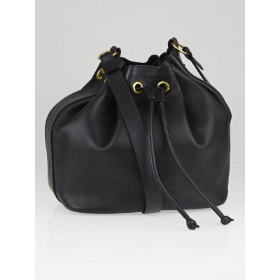 Chloe Black Leather Drawstring Aurore Bucket Bag