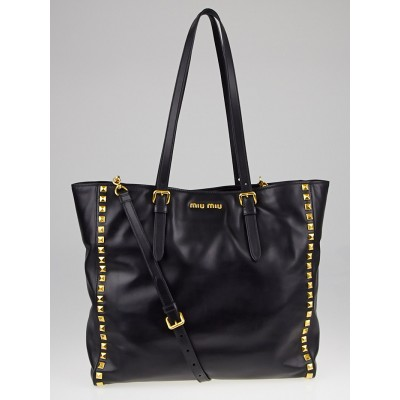 Miu Miu Black Soft Calf Leather Studded Tote Bag RR1906