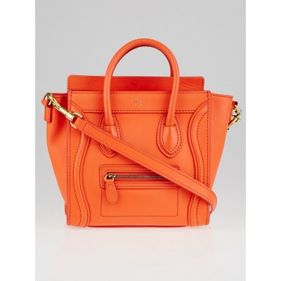 Celine Orange Smooth Calfskin Leather Nano Luggage Tote Bag