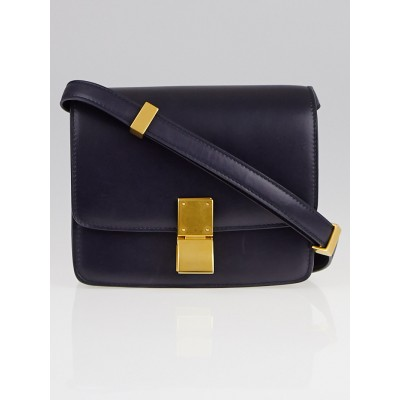 Celine Navy Blue Calfskin Leather Small Classic Box Bag