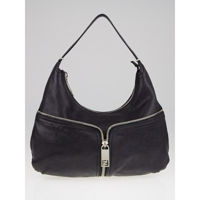 Fendi Black Leather Front Zip Hobo Bag