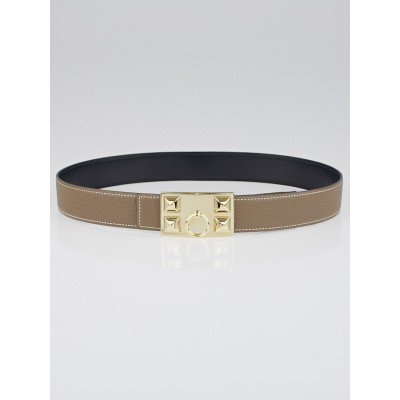 Hermes 32mm Black Box and Etoupe Togo Leather Permabrass Collier de Chien Reversible Belt Size 80