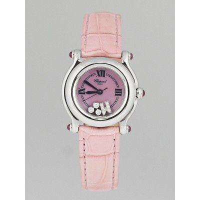 Chopard Pink Stainless Steel and Alligator Happy Sport Floating Diamond Ladies Watch