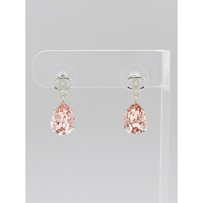 Chanel Pink Crystal Pear Drop CC Earrings