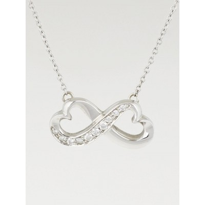 Tiffany & Co. 18K White Gold Paloma Picasso Double Loving Heart Diamond Necklace