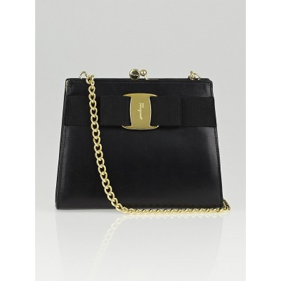 Salvatore Ferragamo Black Calfskin Leather Mini Vara Frame Evening Bag