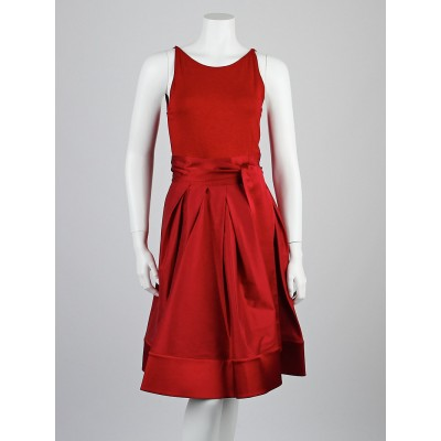 Donna Karan Mars Red Silk Blend Sleeveless Dress Size 2