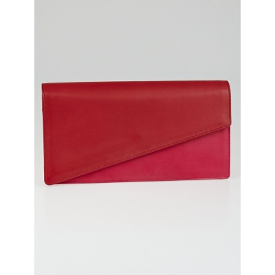Saint Laurent Red/Pink Two-Tone Calfskin Leather Diagonal Clutch Bag