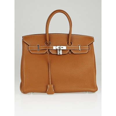 Hermes 35cm Gold Togo Leather Palladium Plated Birkin Bag