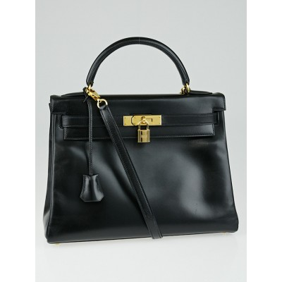 Hermes 32cm Black Box Leather Gold Plated Kelly Retourne Bag