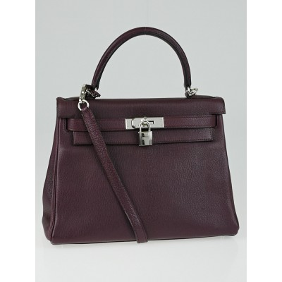 Hermes 28cm Prune Chevre de Coromandel Leather Palladium Plated Kelly Retourne Bag