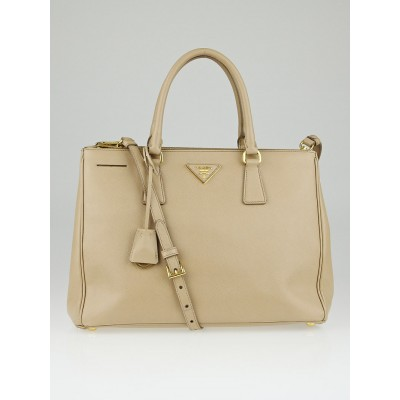 Prada Sabbia Saffiano Lux Leather Double Zip Medium Tote Bag BN2274