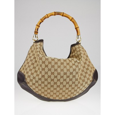Gucci Beige/Ebony GG Canvas Bamboo Shoulder Bag