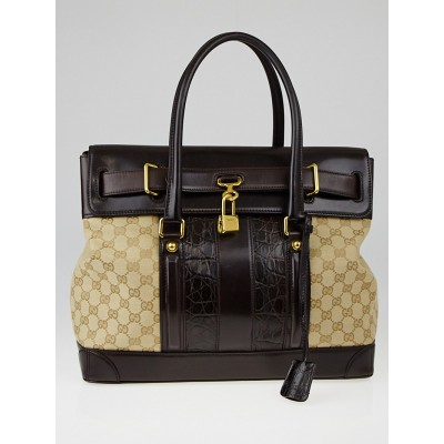 Gucci Beige/Ebony GG Canvas Crocodile Tim Secret Medium Top Handle Bag