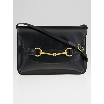 Gucci Black Smooth Calfskin Leather Bright Bit Shoulder Bag