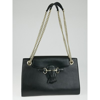 Gucci Black Smooth Calfskin Leather Emily Chain Shoulder Bag