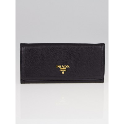 Prada Black Vitello Daino Leather Continental Wallet