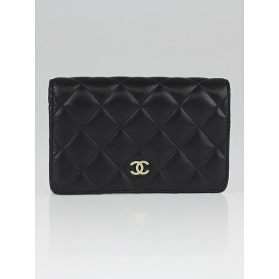 Chanel Black Quilted Lambskin Leather CC Flap Wallet