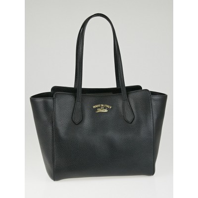 Gucci Black Pebbled Leather Swing Small Tote Bag