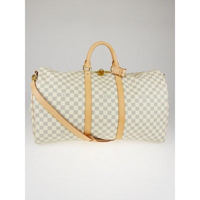 Louis Vuitton Damier Azur Canvas Keepall Bandouliere 55 Bag