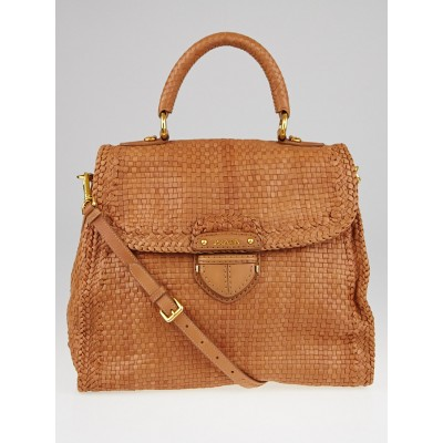 Prada Nudo Woven Goatskin Leather Pattina Madras Bag BN2115