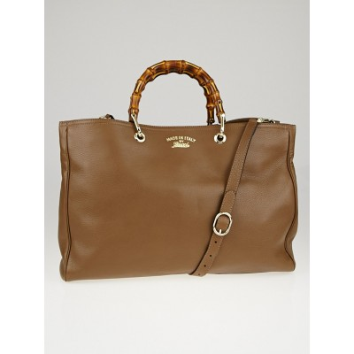 Gucci Brown Pebbled Leather Bamboo Top Handle Large Tote Bag