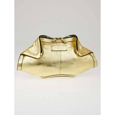 Alexander McQueen Gold Rocha Leather De Manta Clutch Bag