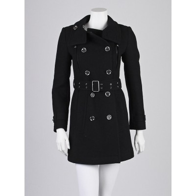 Burberry Brit Black Wool Blend Zip-Pocket Trench Coat Size 2