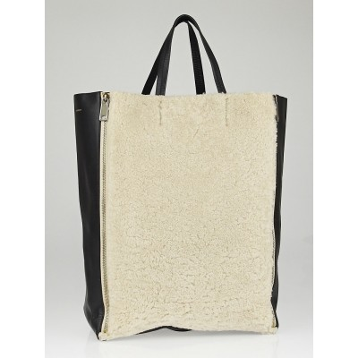 Celine Cream Shearling Black Leather Vertical Gusset Cabas Tote Bag
