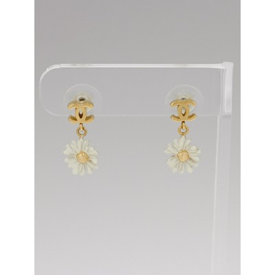 Chanel Resin CC and Daisy Drop Earrings